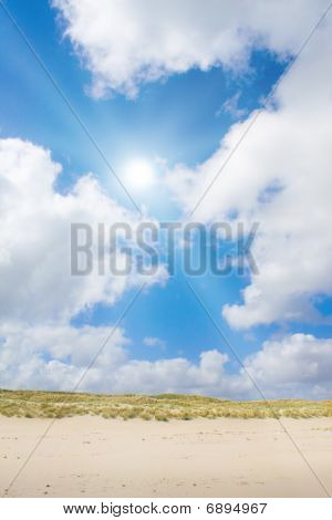 Beach And Dunes With Beautiful Sunlight