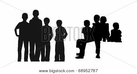 Homeless Boys In The Street Silhouettes Set 1