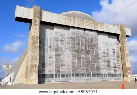 TUSTIN, CALIFORNIA - MAY 15, 2013: Blimp Hangar 1 at the former MCAS, Tustin, CA. Closeup of the massive doors of the wooden hangar to be preserved and the centerpiece of a new Regional Park.