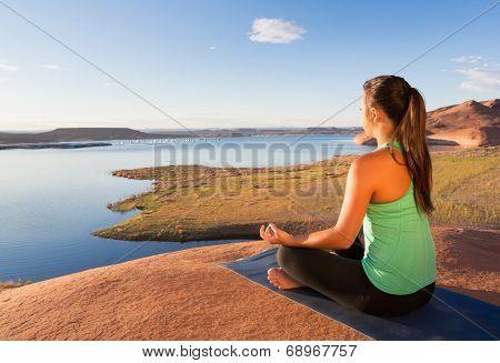 Girl Meditating At Lake Powell
