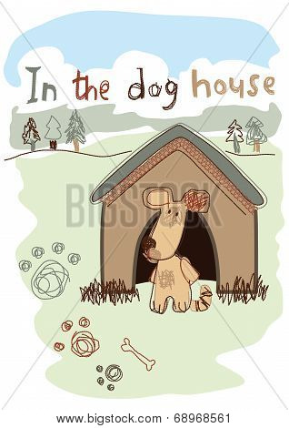 In The Dog House Embroidery Illustration
