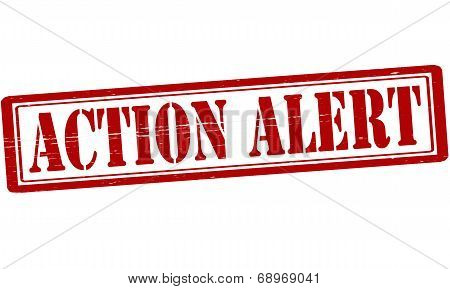 Stamp with text action alert inside vector illustration poster