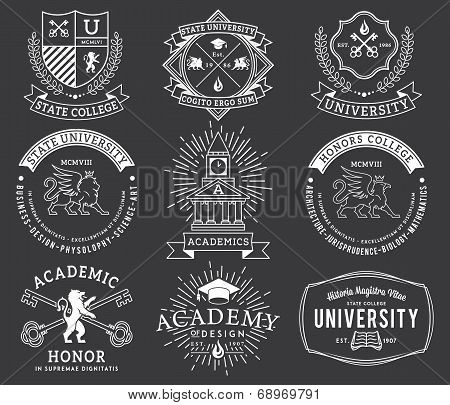 College and University badges 2 white