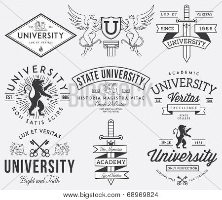 College and University badges Black