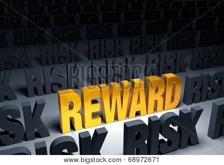 """A shining gold """"REWARD"""" stands out in a dark field of gray """"RISK""""s poster"""