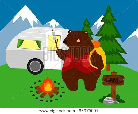 a bear camping in the wood alone poster