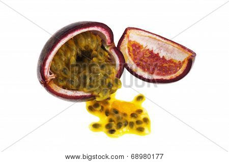 Passion fruit with seeds isolated on white background
