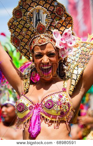 ROTTERDAM, THE NETHERLANDS - JULY 19, 2014, Carnival dancer at the Caribbean Carnival street parade on July 19 in Rotterdam, The Netherlands