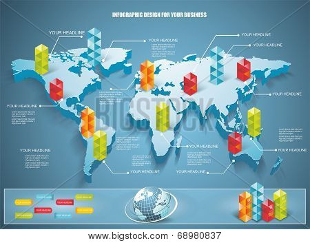 3D Vector World Map Illustration With Modern Elements Of Info Graphics.