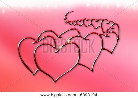 Metallic Red Hearts