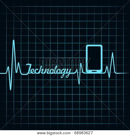 Medical technology concept -heartbeat smartphone icon stock vector