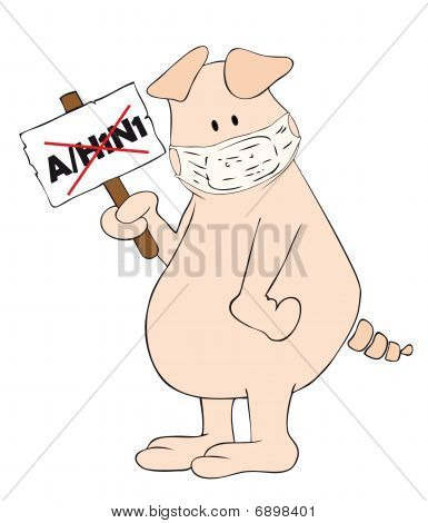 Pig with face mask and A/H1N1 placard in the hand.
