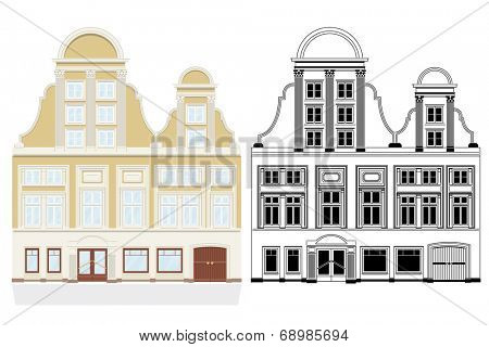 19th century town house. Vector illustration of 19th century town house with shop and gate. Color and black monochrome versions on separate layers.