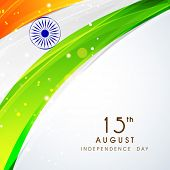 Shiny national flag with asoka wheel on grey background for 15th of August, Independence Day celebrations.  poster