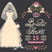 Bridal shower invitation  card with Vintage wedding dress and flowers.The composition of wedding dresses ,Bridal veil,handbag and high heel shoes.Vintage wedding invitation.Fashion vector Illustration poster