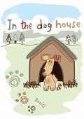 In the dog house embroidery illustration . poster