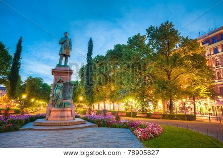 Esplanade Park. Statue Of Johan Ludvig Runeberg in Helsinki, Fin