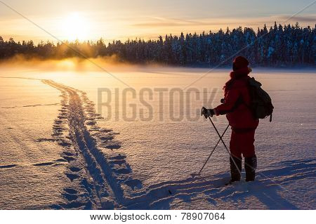 Skier in wilderness