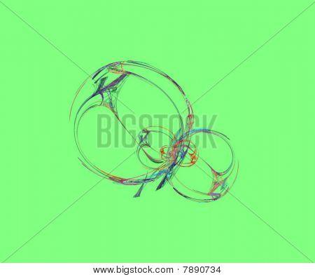 Seamless Floating Fractal On Green Background