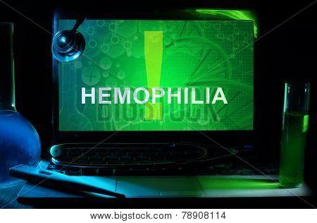 Notebook with words hemophilia