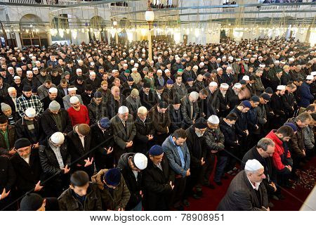 Muslims Pray In The Mosque Fatih