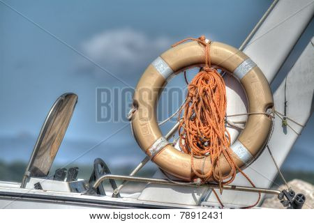 Life Buoy On A Boat Side In Hdr