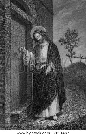 Circa 1900 steel engraving of Jesus Christ by German artist Carl Mayer. Public domain image by virtue of age. poster