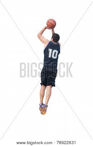 Basketball Player Making A Jump Shot On White