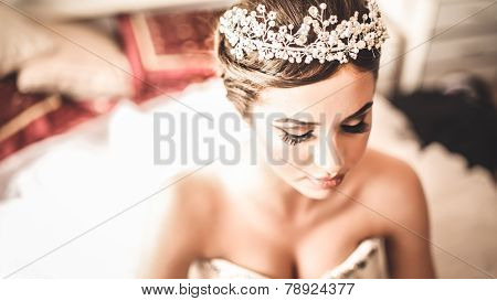 Gorgeous bride portrait in her wedding dress wearing tiara. Beautiful bridal makeup and hairstyle