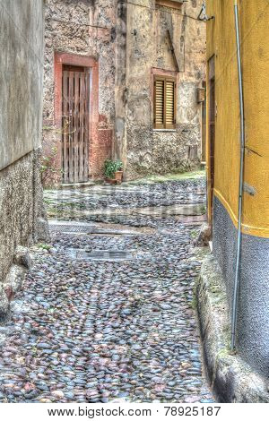 Backstreet In Bosa Old Town In Hdr