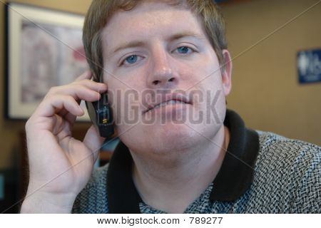 man on a cell phone call poster