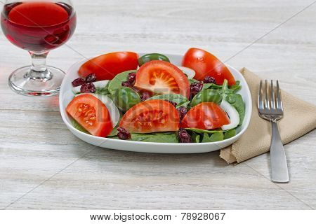 Salad And Red Wine For Dinner