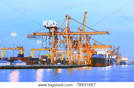 beaitiful landscape of heavy crane tool in ship port and container yard use for import - export and freight shipping of world trading business poster