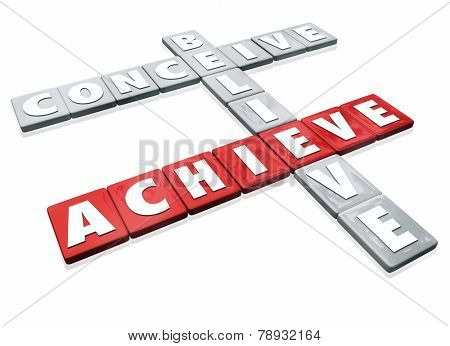 Conceive, Believe and Achieve words on letter tiles for a game or competition illustrating that success or winning is a combination of ideas, confidence and effort