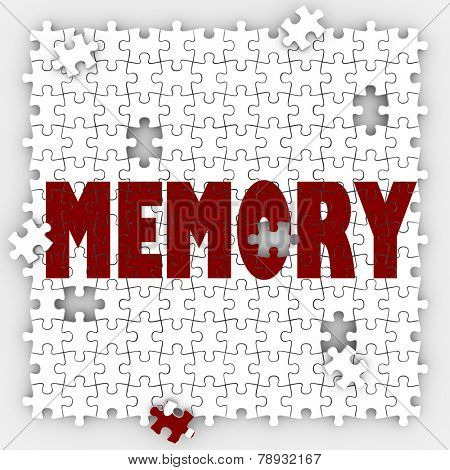 Memory word on puzzle pieces with holes to illustrate missing memories and losing ability to recall names, past facts, faces and other things that were once memorable poster