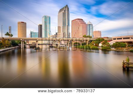 Tampa, FLorida, USA downtown city skyline on the Hillsborough River.