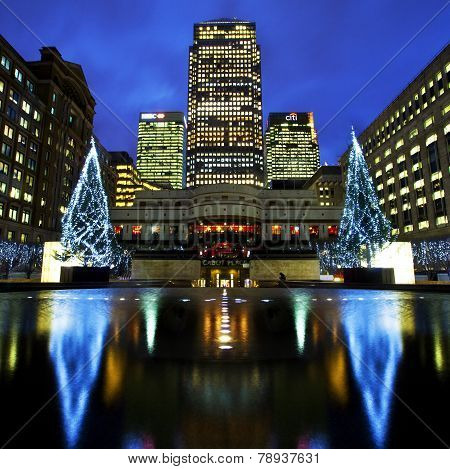 Docklands In London At Christmas