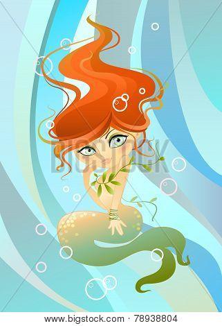 Mermaid  Background In Waves