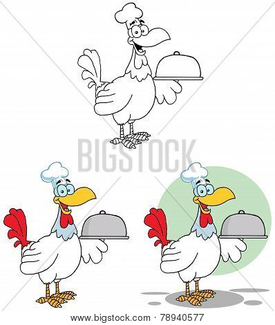 Rooster Bird Chef Serving A Platter. Collection Set
