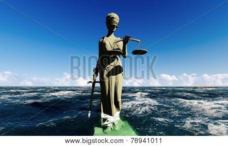 Lady of justice standing in ocean