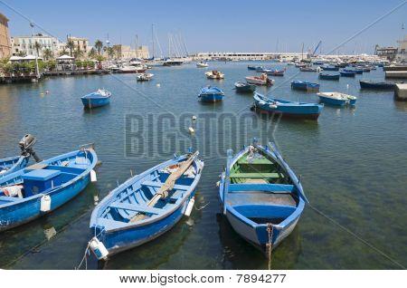 Boats in port. Bari. Apulia.