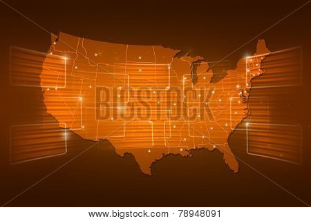 Usa Map World Map News Communication Yellow Gold