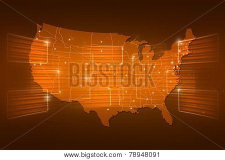 Usa Map World Map News Communication Yellow Gold