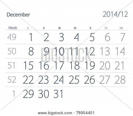 2014 Year Calendar. December
