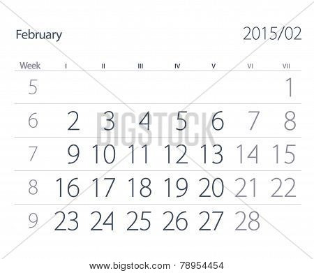 2015 Year Calendar. February