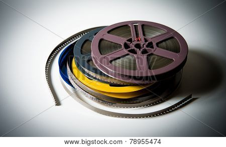 Pile Of 8Mm Super8 Movie Reels With Color Effect