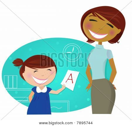 Back to school: Small cute child come to home with good grades