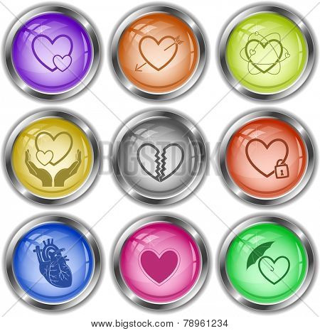 Heart shape set. Vector internet buttons.