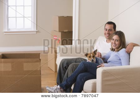 Attractive Young Couple and Their Dog