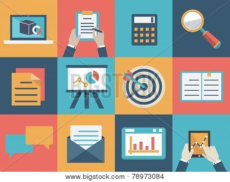 Vector concept of analysis and market research. Flat style design - vector illustration poster